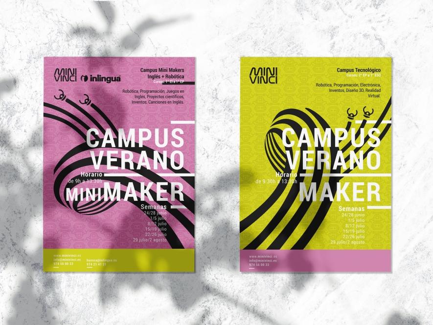 Diseño de cartelería campus de verano. MiniVinci